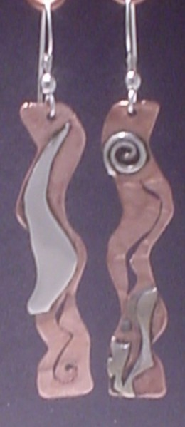 """""""A Metal Melange"""" Copper, layered sterling silver with cut work"""
