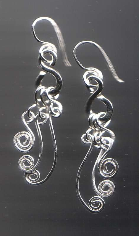"""A Silver Symphony"" Earrings - Sterling Silver Wirework"