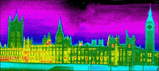 Photo taken with a thermal imaging camera revealing heat loss from the Houses of Parliament
