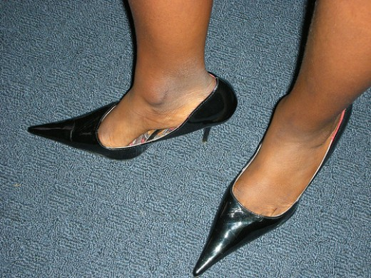 Pointy toed shoes, the designer of these shoes hates women.
