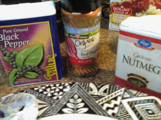 seasonings..yes nutmeg too
