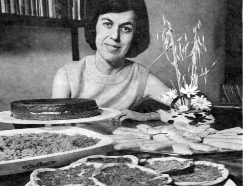 Alyce's recipes featured in a magazine: Here with dishes including Armenian Pizza
