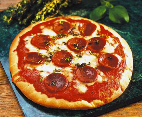 Pizza made with soy cheese.