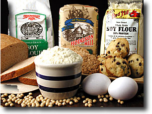 Soy flour can be used to make pancakes, muffins, breads ect by replacing the all purpose flour with soy flour.