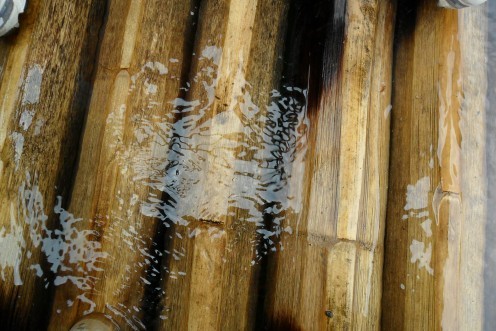 "The ""bottom"" of the bamboo boat"