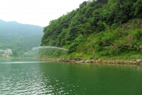 Water spout along the river