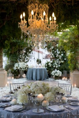 Add elegance to any reception site with chandeliers.