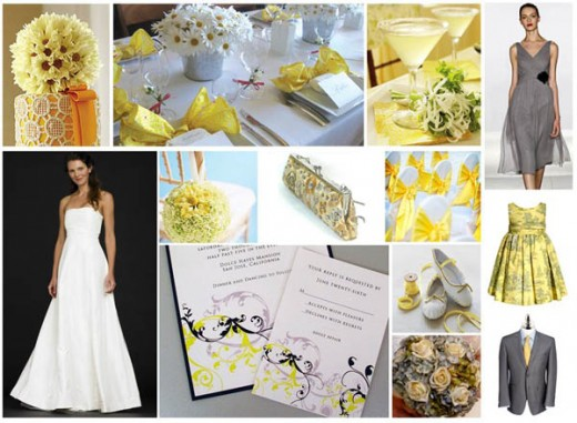 Yellow and gray is one of the hottest wedding color palettes right now.