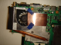Added copper sheet to bring heat away from video chip reaching the fan on both sides.