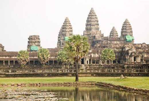 This photograph of Angkor Wat in Cambodia is taken on a day with overcast sky. Notice the washed out sky and how boring the photograph becomes.