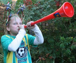 """Daughter Caitlin gets into the """"gees"""" with her vuvuzela"""