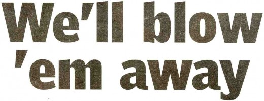 Headline in a Sunday newspaper