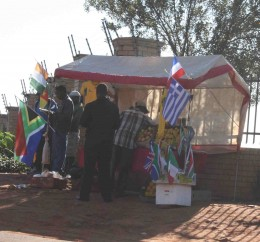 Street-side stall selling world cup stuff