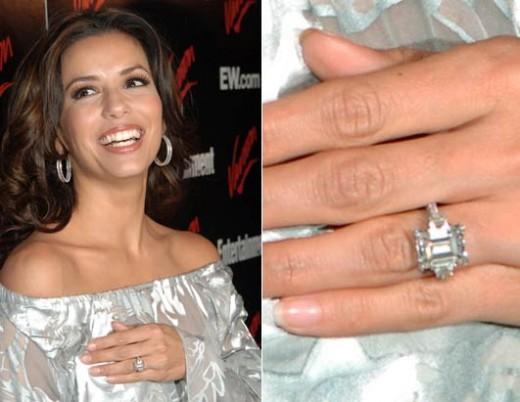 Celeb Wedding Ring: Eva Longorias Engagement Ring, 18 carat white gold