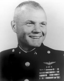 From Cambridge OH, Astronaut COl. John Glenn made the first US orbital flight in space. He had served in the US Navy's air services in combat during WWII and the Korean War.