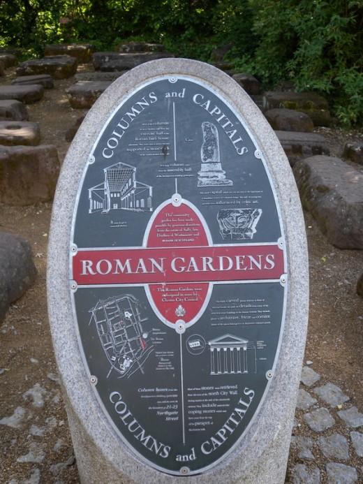 In the Roman Garden were actual stones used to build the baths, buildings, walls and roads.
