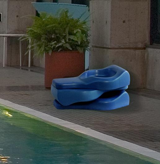 three swim board on the deck of a swimming pool