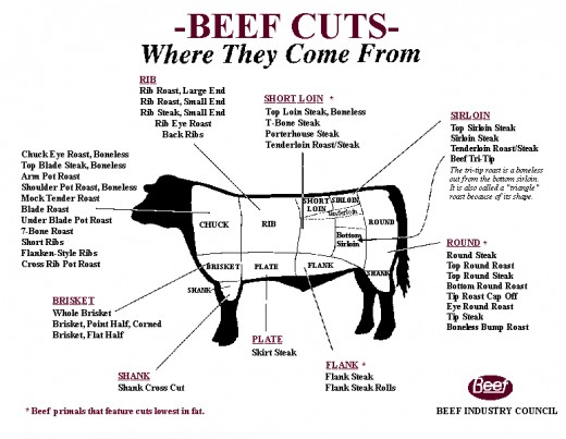 A visual view of beef cuts.