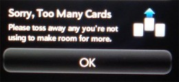 'Too many cards' error is the most common error on Palm Pre