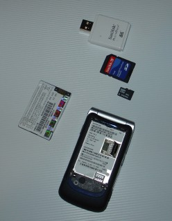 Here you see the phone, battery, and Micro SD card.  The two cards above it are adaptors to let it fit in my card reader.