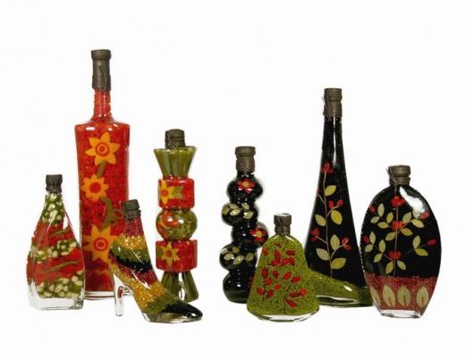 Mixed fruit vinegar in decorative Chinese bottles.
