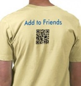 How about using QR Codes on t-shirts?