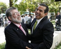 Jon Davidson, legal director for Lambda Legal, and LA Mayor Antonio Villaraigosa celebrate the California Supreme Court's ruling to overturn a voter-approved ban on gay marriage...(AP Photo/Gus Ruelas)