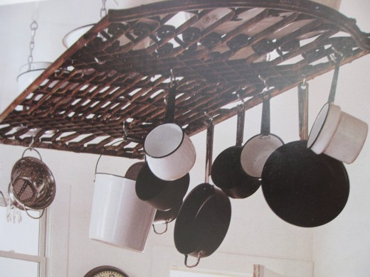 """Found"" old gate used as a beautiful pot rack."