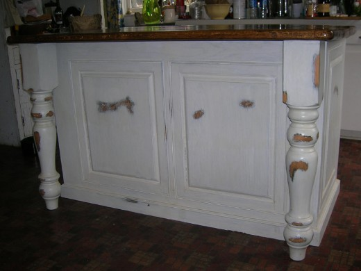 Distressed kitchen island.