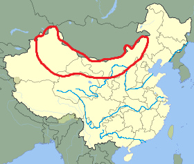 The region covered by the Gobi Desert, shown in red.