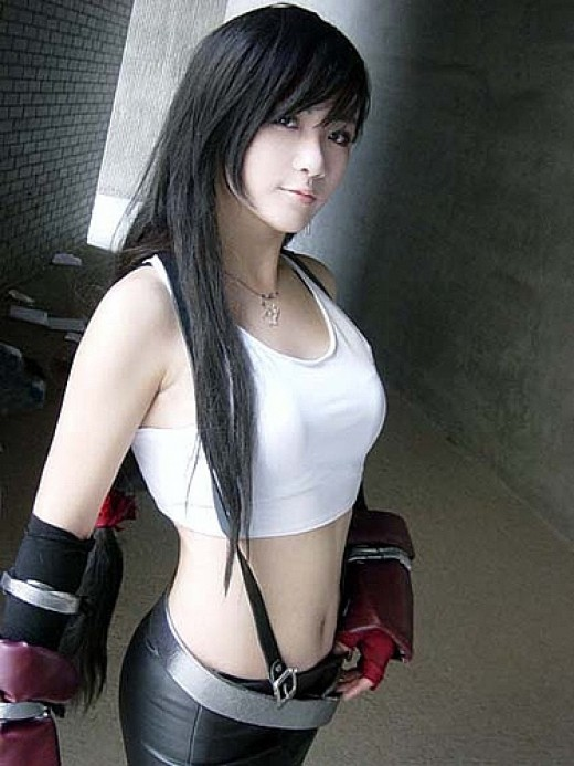 Tifa Costume with white shirt and suspenders