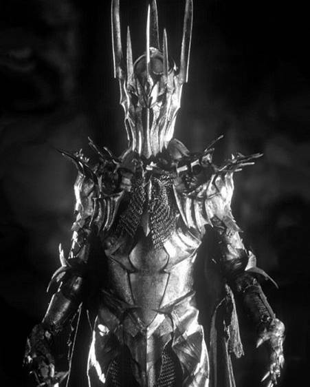Dark Lord of Mordor, aka Flair Master. The finely-wrought armor, the intricate, super creepy helmet, and a shiny gold ring.  Sauron has some serious bling and he's not afraid to show it. Way to go Sauron!