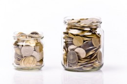 Designate an area in your house for empty jars to deposit all loose change