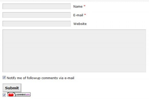 Standard CommentLuv Enabled Form on WordPress