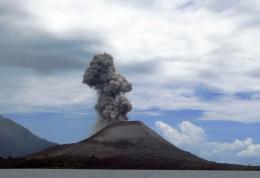 Anak Krakatau in Indonesia. A subduction type volcano
