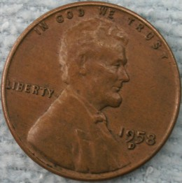 1958D Lincoln Wheat Penny (obverse)  Obverse Doubled Die