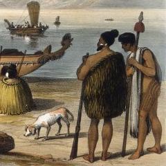 Maori chiefs on shore New Zealand