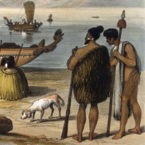 Maori chiefs on shore New Zealand