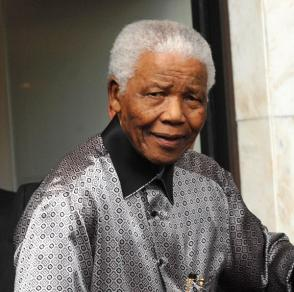 A frail looking Nelson Mandela