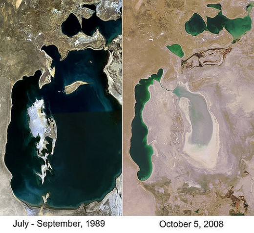 The Aral Sea disaster! A satellite image showing how this massive water body dried in some years.