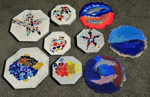 Hand-made stepping stones from alcottauction.com