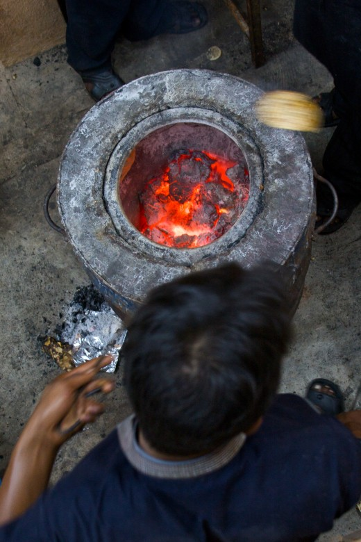 Tandoori Oven with live coals at the bottom