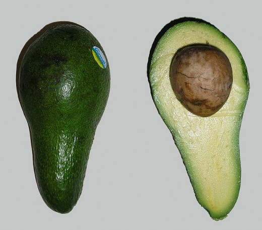 An avocado, inside and out.