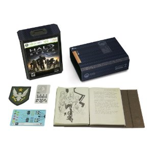 Halo Reach Limited Edition containing the game, manual, a special ONI black box case, an exclusive Elite armour for multiplayer, an artefact bag containing Dr Hasley's personal journal and documents, SPARTAN patch and security badge.  Pretty awesome!
