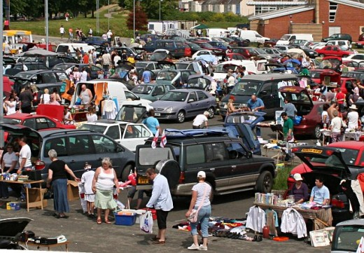 Car boot selling.    Image source - s0.geograph.org.uk