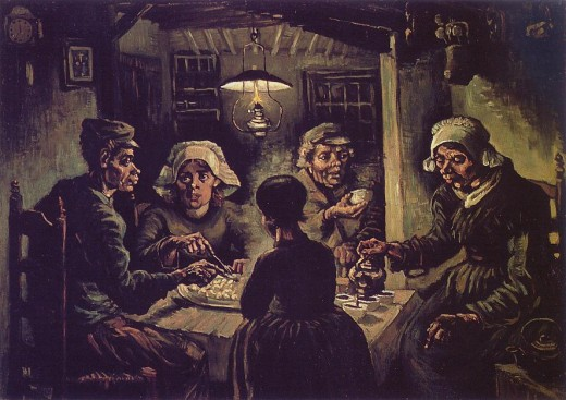 The Potato Eaters is one of Van Gogh's earlier works from before he met other Impressionist artists who really influenced him to use brighter colours.