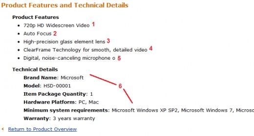 Technical details for a webcam