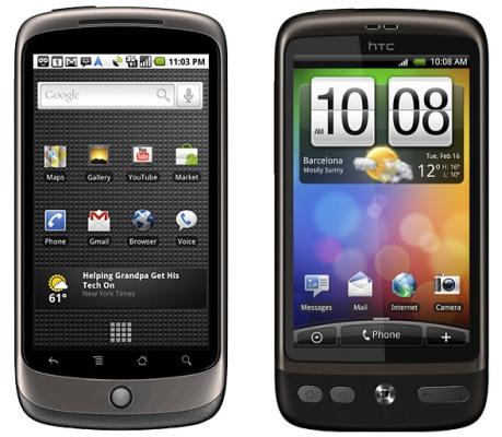 Google Nexus One and HTC Desire