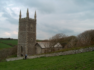 My photo of Morwenstow Church, looking back up the path from the cliffs