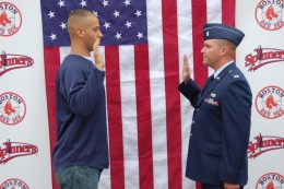 Swearing in is used in the military, where it is to serve one's country.